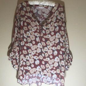 😽LC Lauren Conrad Floral Top Size XL